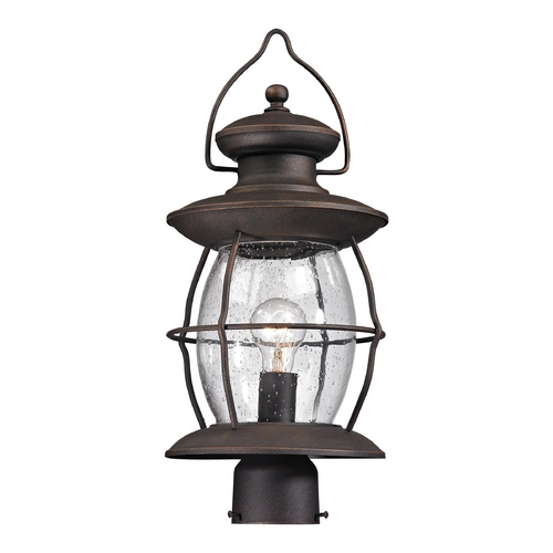 Elk Lighting Post Light with Clear Glass in Weathered Charcoal Finish 47041/1