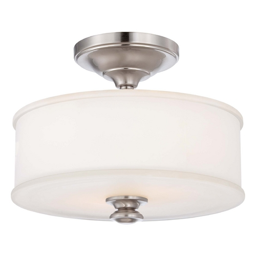 Minka Lavery Semi-Flushmount Light with White Glass in Brushed Nickel Finish 4172-84