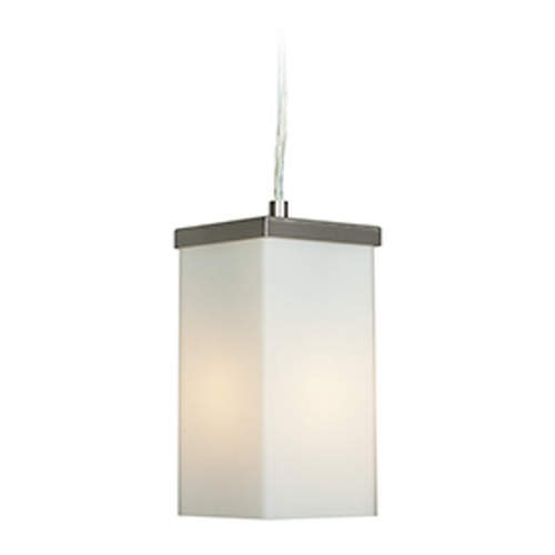 Access Lighting Access Lighting Basik Brushed Steel Mini-Pendant Light with Rectangle Shade 23638-BS/OPL
