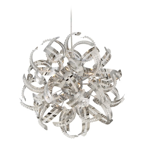 Quoizel Lighting Mid-Century Modern Pendant Cluster Light Chrome Ribbons by Quoizel Lighting RBN2817CRC