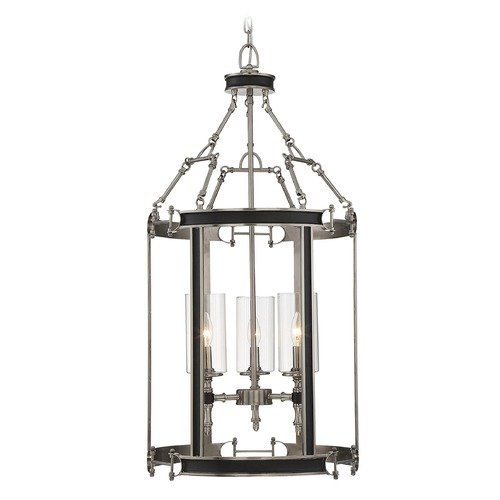 Savoy House Savoy House Lighting Gramercy Polished Pewter / Black Pendant Light with Cylindrical Shade 3-5043-3-81