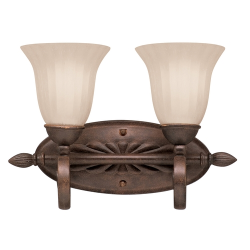 Kichler Lighting Kichler Bathroom Light with Brown Glass in Tannery Bronze Finish 5927TZ