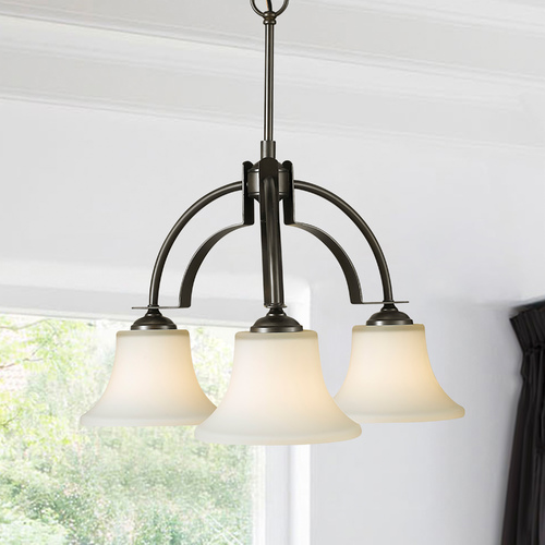 Sea Gull Lighting Sea Gull Modern 3-Light Chandelier with White Glass in Oil Rubbed Bronze F2250/3ORB