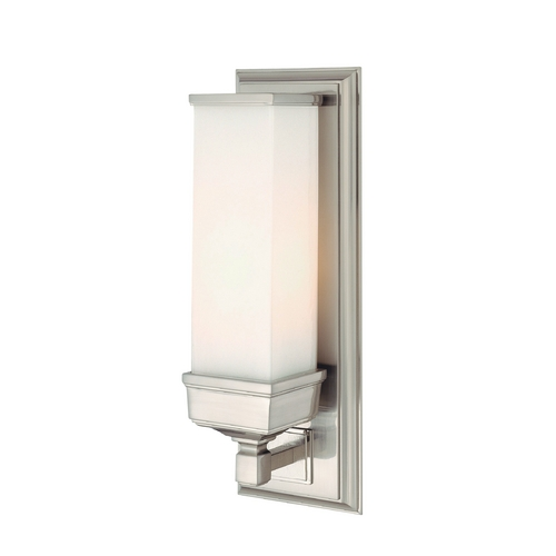 Hudson Valley Lighting Sconce Wall Light with White Glass in Satin Nickel Finish 471-SN