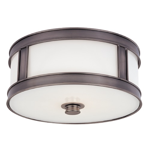 Hudson Valley Lighting Flushmount Light with White Glass in Historic Nickel Finish 5513-HN