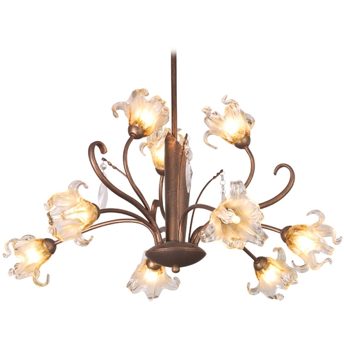 ET2 Lighting Chandelier with Amber Glass in Antique Bronze Finish E22064-26