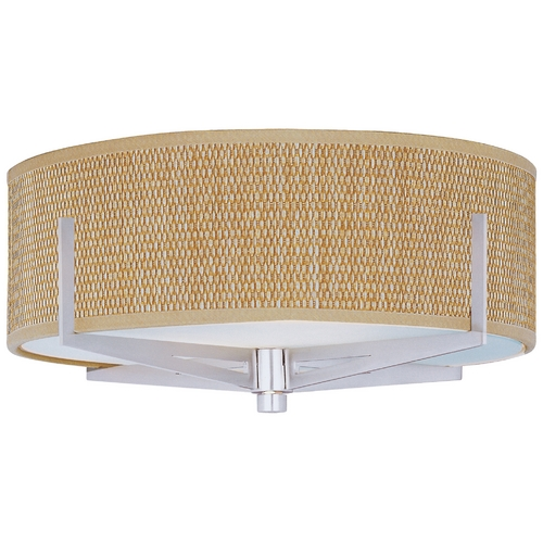 ET2 Lighting Modern Flushmount Light with Brown Shades in Satin Nickel Finish E95300-101SN