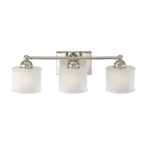 Minka Lavery Modern Bathroom Light with White Glass in Polished Nickel Finish 6733-1-613