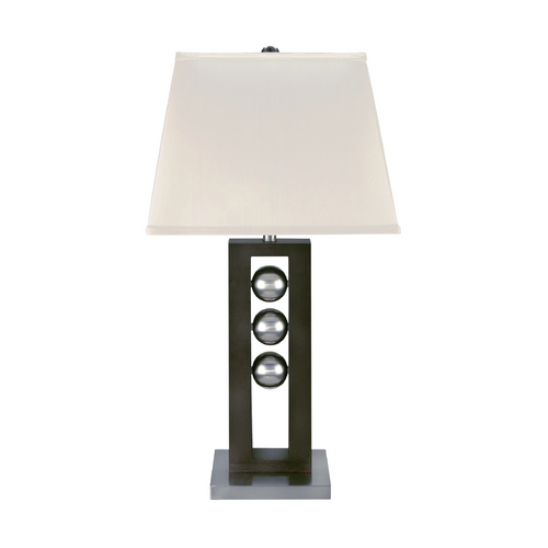 Lite Source Lighting Modern Table Lamp with White Shade in Polished Steel / Dark Walnut Finish LS-2450