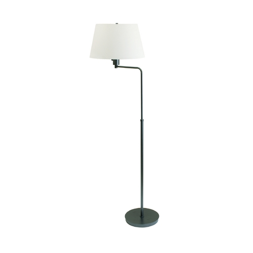 House of Troy Lighting Modern Swing Arm Lamp with White Shade in Granite Finish G200-GT