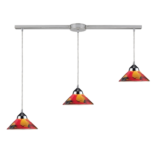 Elk Lighting Modern Multi-Light Pendant Light with Art Glass and 3-Lights 1477/3L-JAS