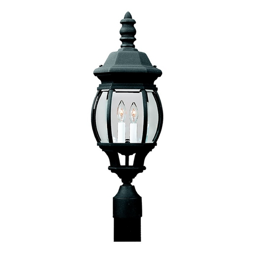 Sea Gull Lighting Post Light with Clear Glass in Black Finish 82200-12