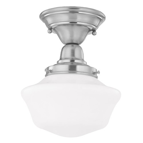 Design Classics Lighting 8-Inch Schoolhouse Semi-Flush Ceiling Light with Opal White Glass FBS-09 / GA8