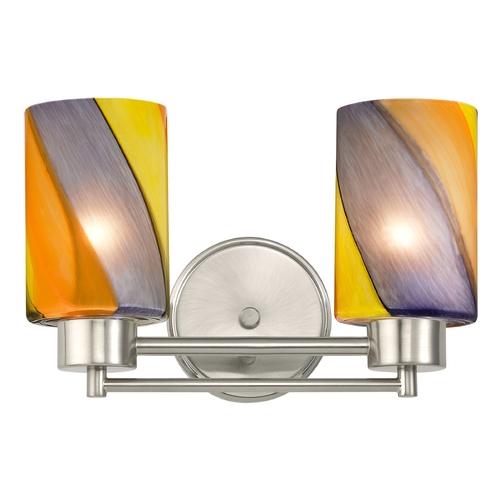 Design Classics Lighting Modern Bathroom Light with Art Glass in Satin Nickel Finish 702-09 GL1015C