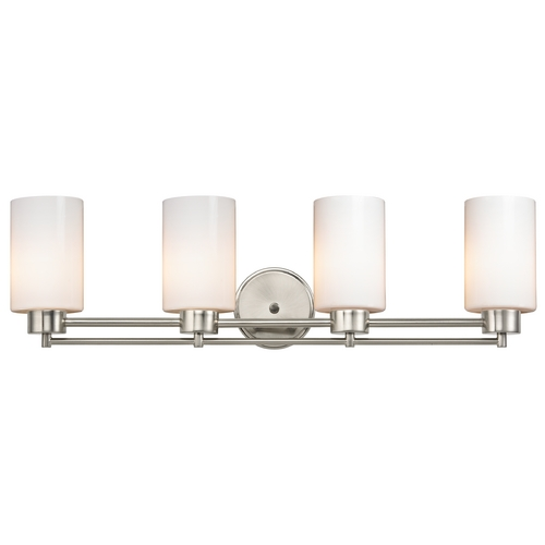 Design Classics Lighting Modern Bathroom Light with White Glass in Satin Nickel Finish 704-09 GL1024C