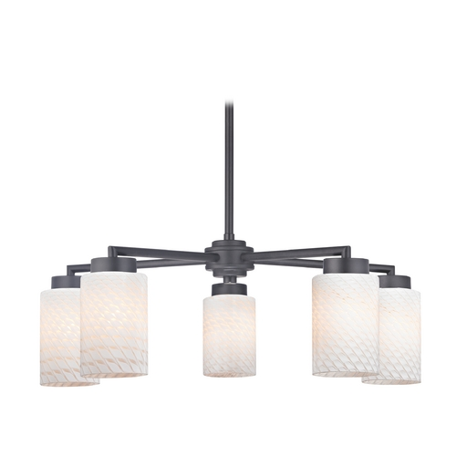 Design Classics Lighting Modern Chandelier with Five Lights and White Glass in Black Finish 590-07 GL1020C