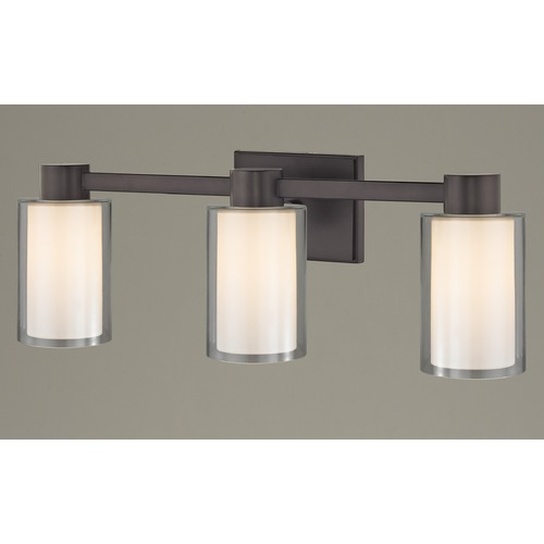 Design Classics Lighting 3-Light Frosted Glass Bathroom Light Bronze 2103-220 GL1061 GL1040C