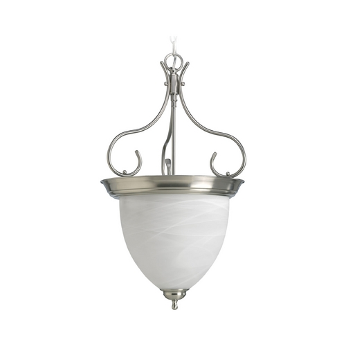Progress Lighting Progress Pendant Light with Alabaster Glass in Brushed Nickel Finish P3458-09