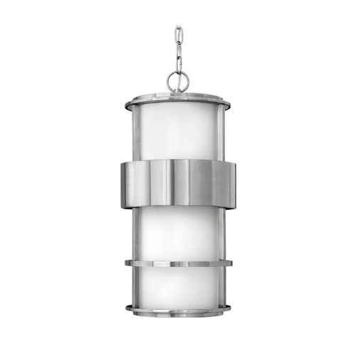 Hinkley Lighting Modern Outdoor Hanging Light with White Glass in Stainless Steel Finish 1902SS