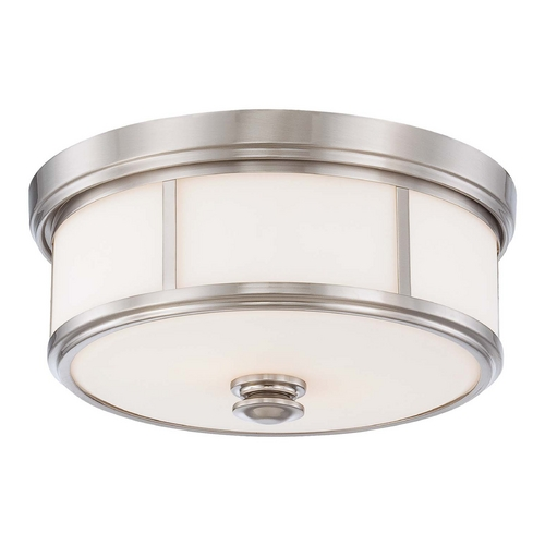 Minka Lavery Flushmount Light with White Glass in Brushed Nickel Finish 4365-84