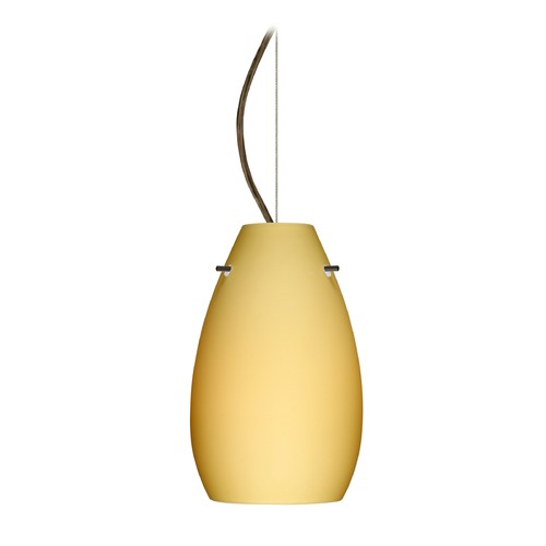 Besa Lighting Besa Lighting Pera Bronze LED Mini-Pendant Light with Oblong Shade 1KX-4126VM-LED-BR