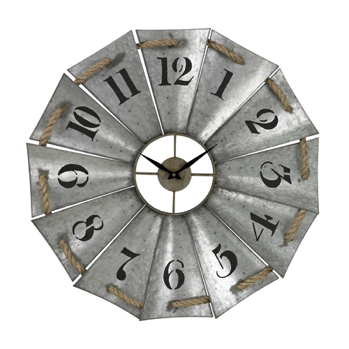 Sterling Lighting Sterling Lighting Galvanized Metal / Natural Rope Clock 129-1091