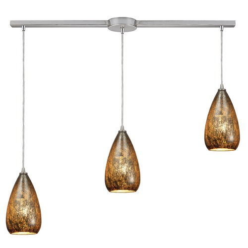Elk Lighting Elk Lighting Karma Satin Nickel Multi-Light Pendant with Bowl / Dome Shade 10254/3L