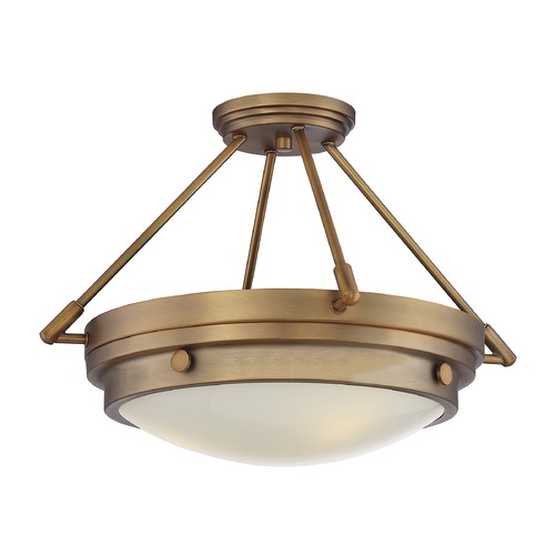 Savoy House Savoy House Lighting Lucerne Warm Brass Semi-Flushmount Light 6-3351-3-322