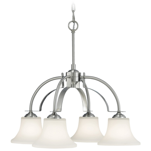 Feiss Lighting Modern Chandelier with White Glass in Brushed Steel Finish F2251/4BS