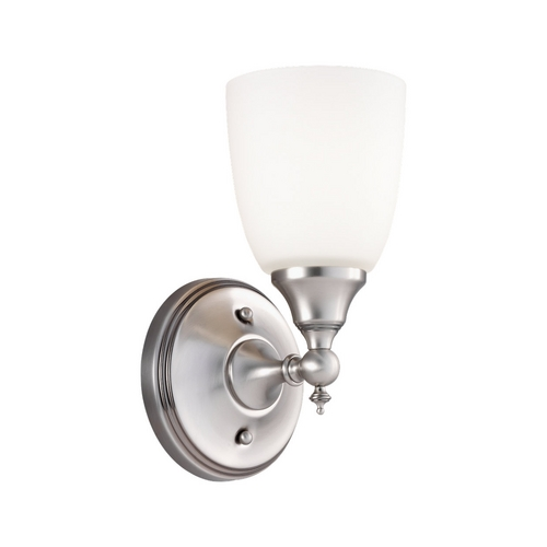 Sea Gull Lighting Sconce Wall Light with White Glass in Antique Brushed Nickel Finish 44615-965