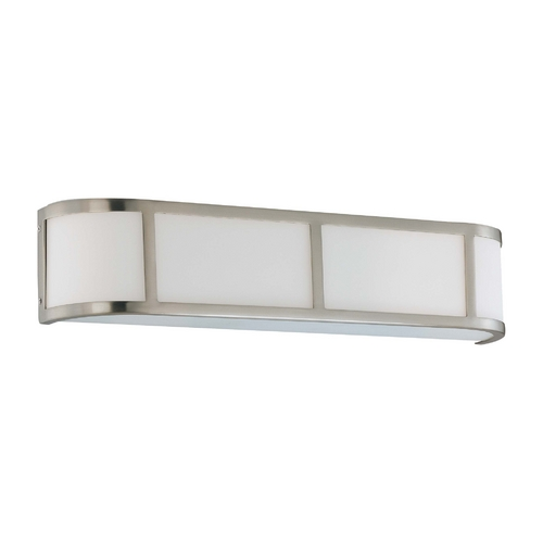 Nuvo Lighting Bathroom Light with White Glass in Brushed Nickel Finish 60/2873