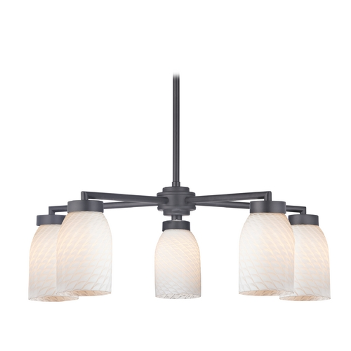 Design Classics Lighting Modern Chandelier with Five Lights and White Art Glass in Black Finish 590-07 GL1020D