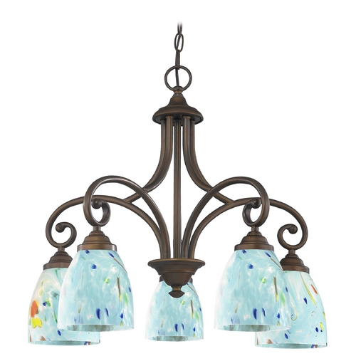 Design Classics Lighting Chandelier with Blue Glass in Neuvelle Bronze Finish 717-220 GL1021MB