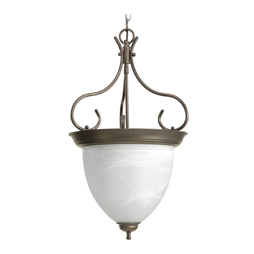 Progress Lighting Progress Pendant Light with Alabaster Glass in Antique Bronze Finish P3458-20