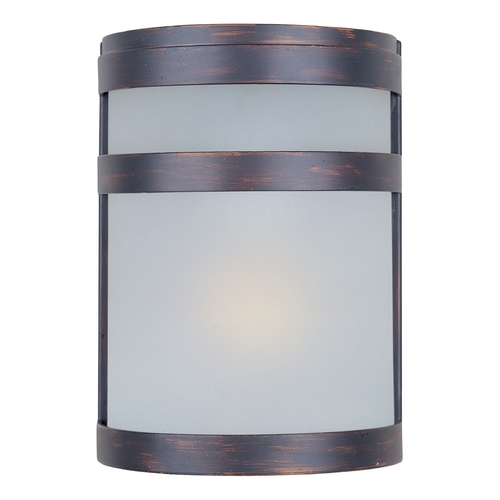 Maxim Lighting Modern Outdoor Wall Light with White Glass in Oil Rubbed Bronze Finish 86005FTOI
