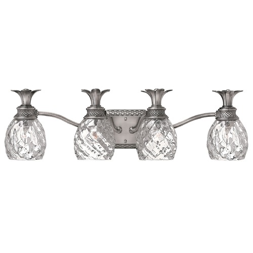 Hinkley Lighting Bathroom Light with Clear Glass in Polished Antique Nickel Finish 5314PL