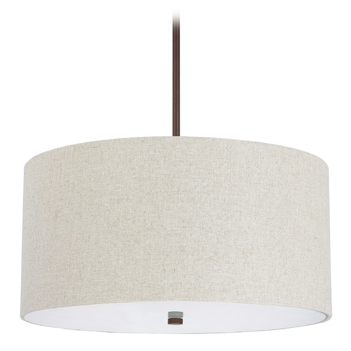 Capital Lighting Capital Lighting Loft Burnished Bronze Pendant Light with Drum Shade 3922BB-613