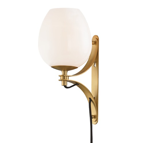 Mitzi by Hudson Valley Mitzi By Hudson Valley Mitzi Lindsay Aged Brass Sconce HL291101-AGB