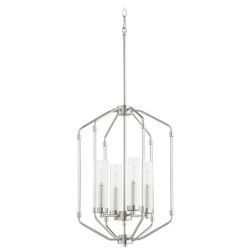 Quorum Lighting Quorum Lighting Citadel Satin Nickel Pendant Light with Cylindrical Shade 6963-4-65