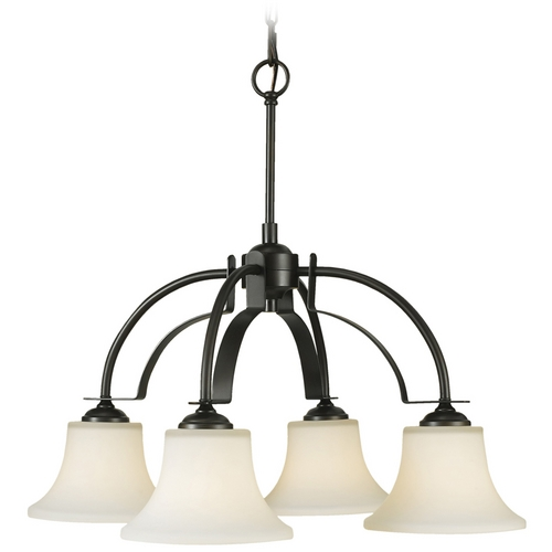 Sea Gull Lighting Modern Chandelier with White Glass in Oil Rubbed Bronze Finish F2251/4ORB