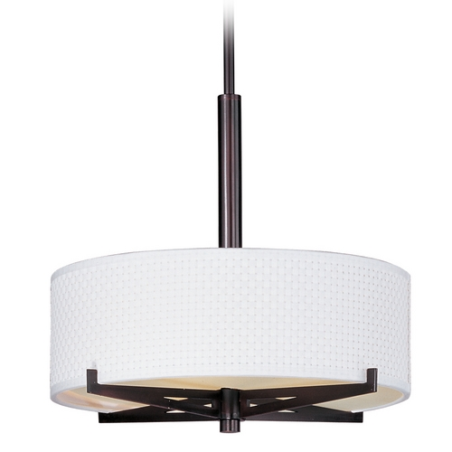 ET2 Lighting Modern Pendant Light with White Shades in Oil Rubbed Bronze Finish E95305-100OI
