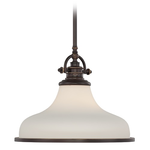 Quoizel Lighting Modern Pendant Light with White Glass in Palladian Bronze Finish GRT2814PN
