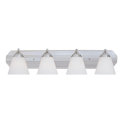 Designers Fountain Lighting Bathroom Light with White Glass in Satin Platinum Finish 6604-SP