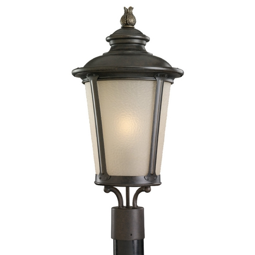 Sea Gull Lighting Post Light with Amber Glass in Burled Iron Finish 82240-780