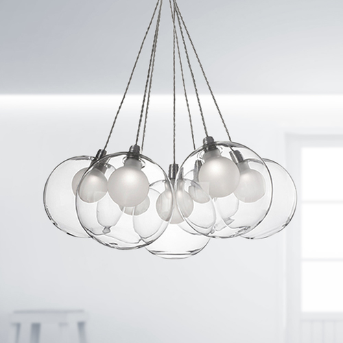 Kuzco Lighting Cluster Pendant Light Chrome with Clear Glass 7-Light Kuzco Lighting CH3117