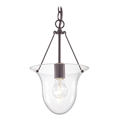 Design Classics Lighting Foyer Pendant Light in Bronze with Clear Glass 1818-30  G1818-CLR