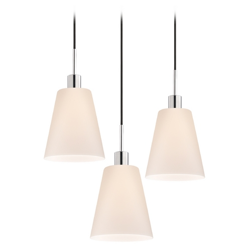 Sonneman Lighting Modern Multi-Light Pendant Light with White Glass and 3-Lights 3562.01K-3