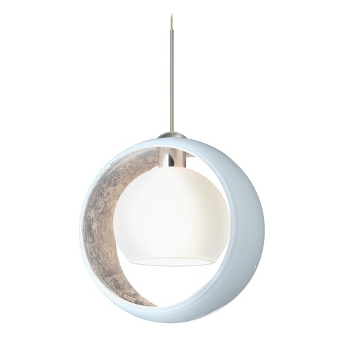 Besa Lighting Besa Lighting Pogo Satin Nickel Pendant Light with Globe Shade 1XT-4293SF-SN