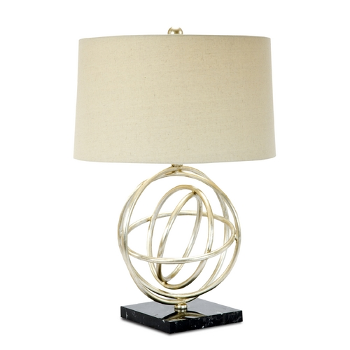 Currey and Company Lighting Currey and Company Lighting Silver Leaf / Black Marble Table Lamp with Drum Shade 6826