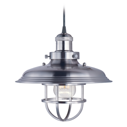 Maxim Lighting Maxim Lighting Mini Hi-Bay Satin Nickel Pendant Light with Bowl / Dome Shade 25031SN
